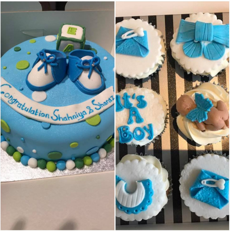 New baby cake with matching cupcakes!