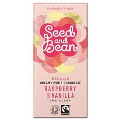 Raspberry and Vanilla Creamy White Chocolate Bar 30% - £2.69
