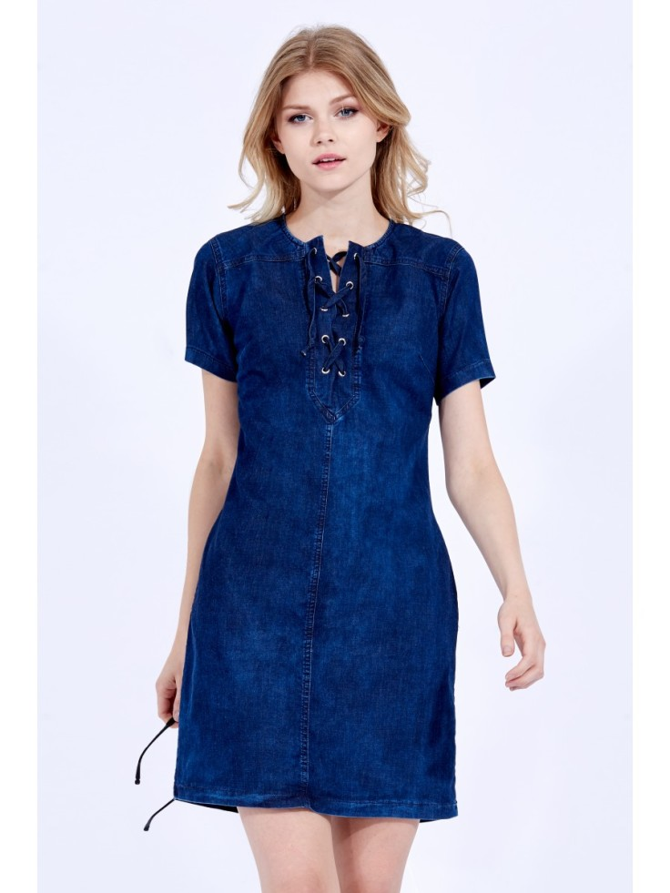 LACE UP DENIM TUNIC DRESS available for just £12.99