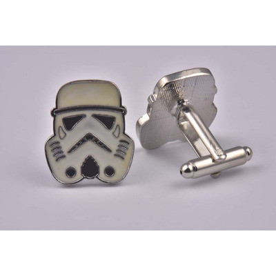 Star Wars Storm Trooper White Cufflinks - High Quality Alloy with Silver Coating