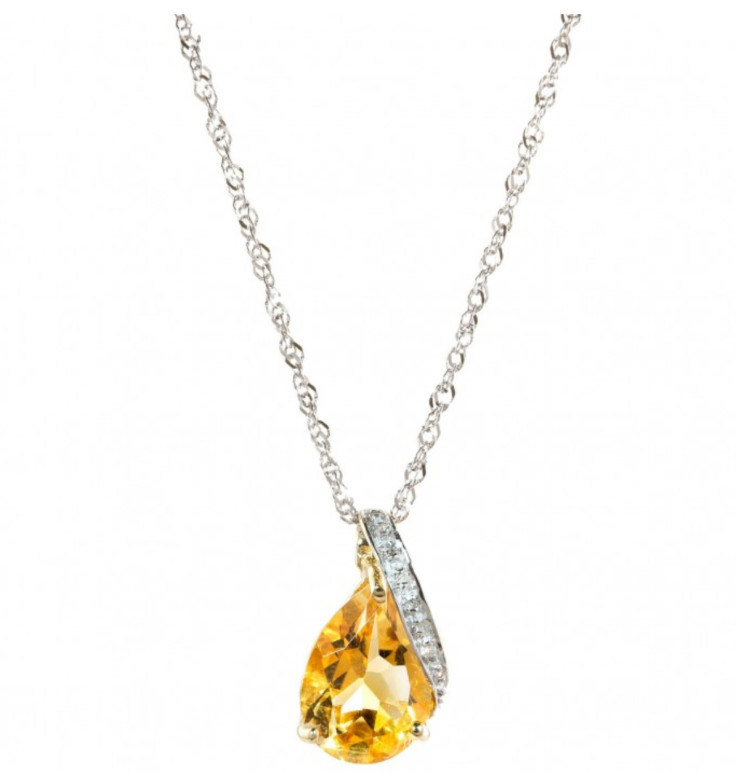 Save £100 on this 9ct gold Citrine and Diamond Pendant