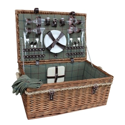 New - 4 Person Deluxe Rope Handled Green Tweed Fitted Picnic Basket £93.18