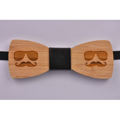 Wooden Bow Tie Moustache And Glasses - £10.99 was £19.99