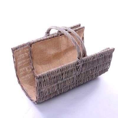 New - Wicker Half Pipe Hessian Lined Log Basket £29.00