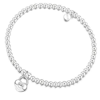 ROX Silver Heart Padlock Bracelet - £49