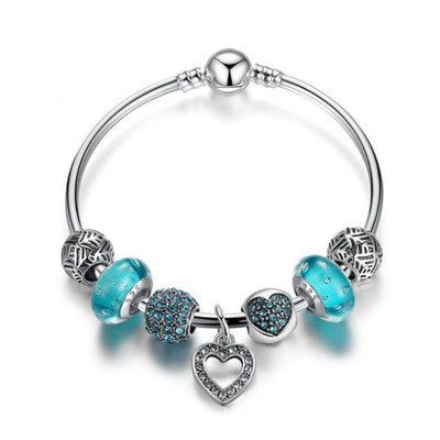 Blue Love Heart Charm Bangle Set - £6.99 was £21.99