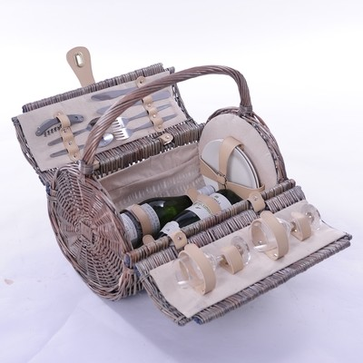 New - 2 Person Barrel Fitted Wicker Picnic Basket  £48.50