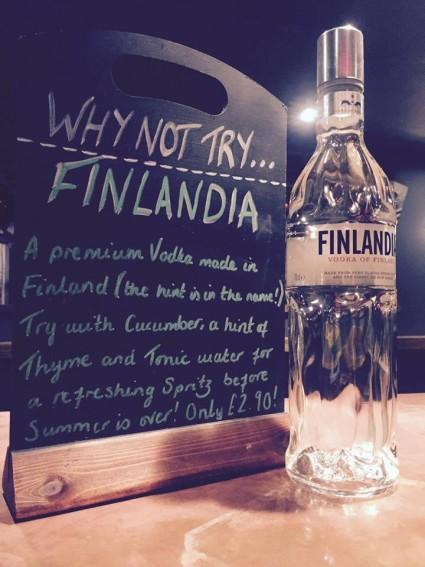 Why not Head to our Terraces for the Sunny Evening and try our Spirit of the Week - Finlandia Vodka