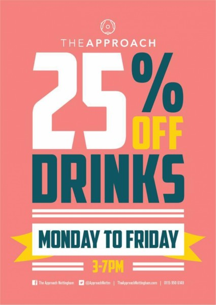 25% off all Drinks - Monday to Friday 3pm to 7pm